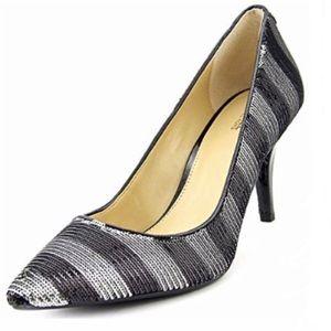 Nine West stripe sequin party pump heels